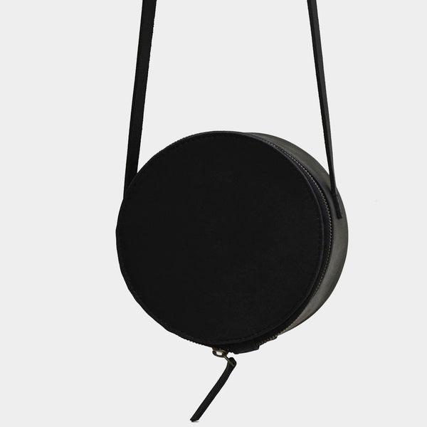 Handcrafted Black Leather Halo Sling Bag by Cord