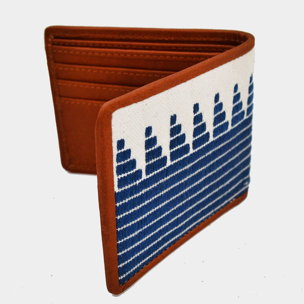 Handcrafted Blue Leather & Handwoven Fabric Bi-Fold Wallet