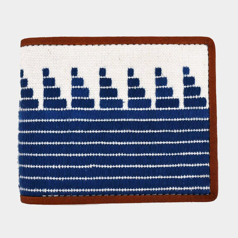 Handcrafted Blue Leather & Handwoven Fabric Bi-Fold Wallet by Cord