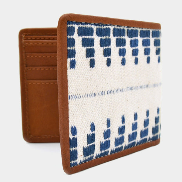 Handcrafted Blue & White Leather Handwoven Fabric Bi-Fold Wallet