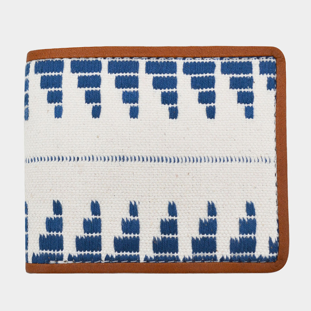 Handcrafted Blue & White Leather Handwoven Fabric Bi-Fold Wallet by Cord