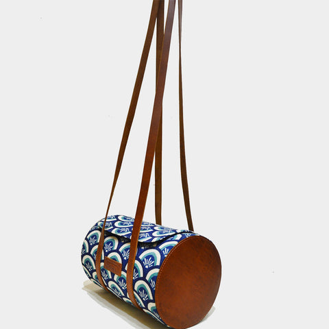 Handcrafted Blue Leather Barrel Sling Bag by Cord