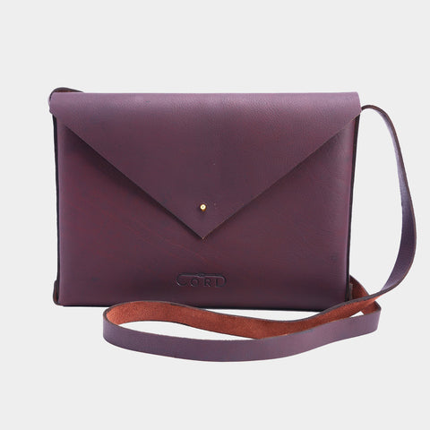 Cheery Handcrafted Saddle Leather Envelope Bag by Cord