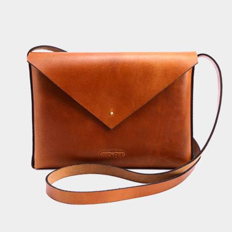 Tan Handcrafted Saddle Leather Envelope Bag by Cord