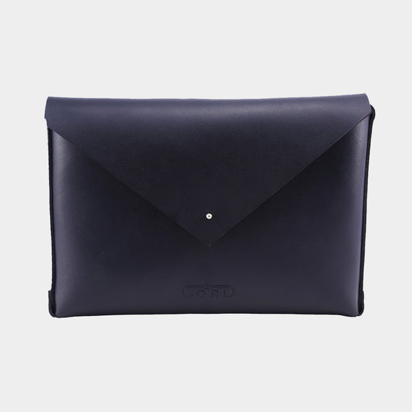 Black Handcrafted Saddle Leather Envelope Bag