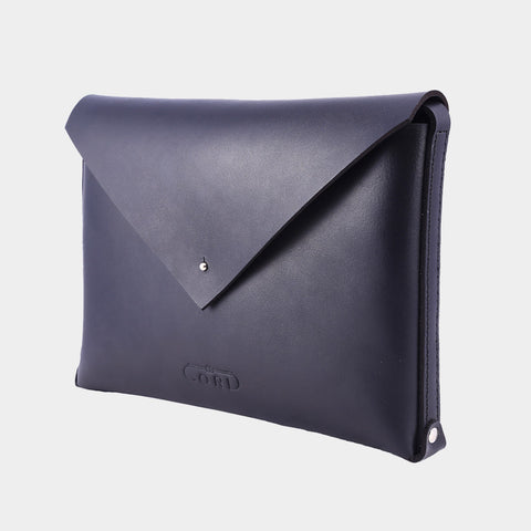 Black Handcrafted Saddle Leather Envelope Bag by Cord