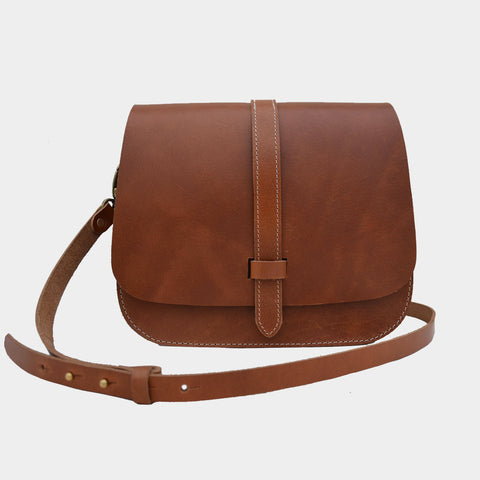 Tan Handcrafted Harness Leather Saddle Bag by Cord