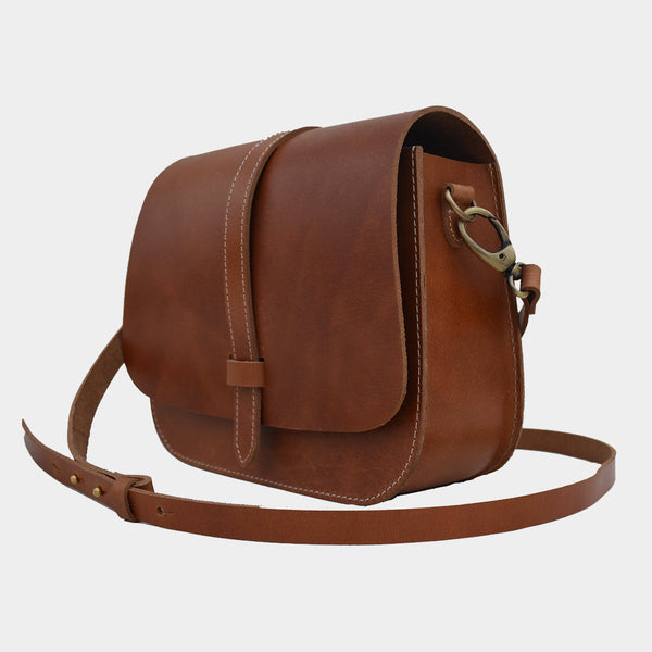 Tan Handcrafted Harness Leather Saddle Bag