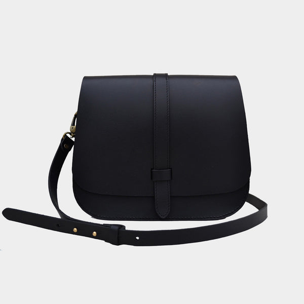 Black Handcrafted Harness Leather Saddle Bag by Cord