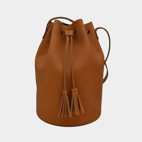 Tan Handcrafted Full-Grained Leather Bucket Bag by Cord