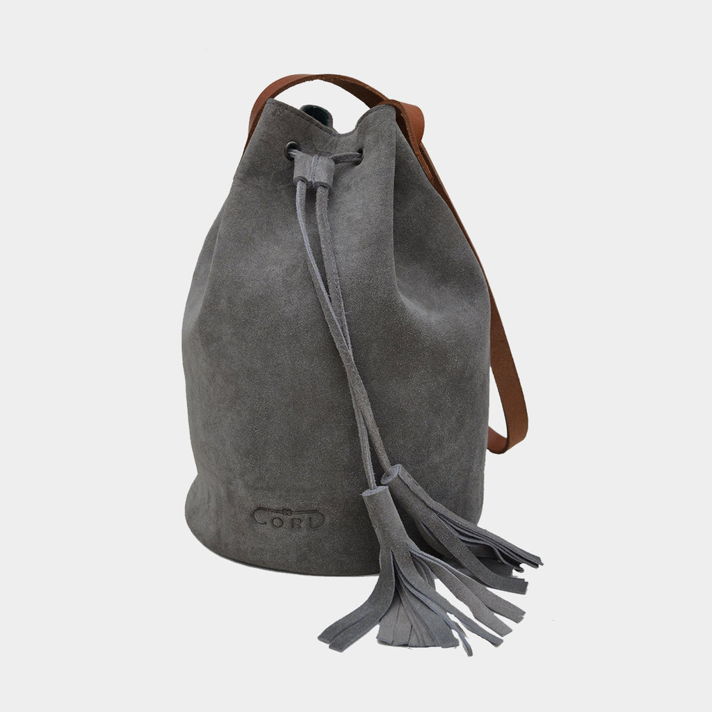 Grey Handcrafted Full-Grained Leather Bucket Bag by Cord