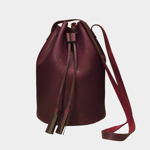 Cherry Handcrafted Full-Grained Leather Bucket Bag by Cord