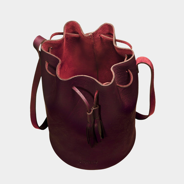Cherry Handcrafted Full-Grained Leather Bucket Bag
