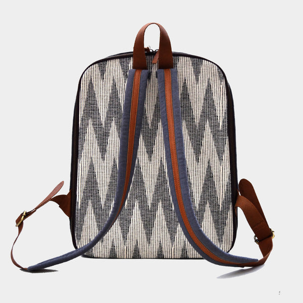 Grey & Beige Handcrafted Ikat & Leather Backpack