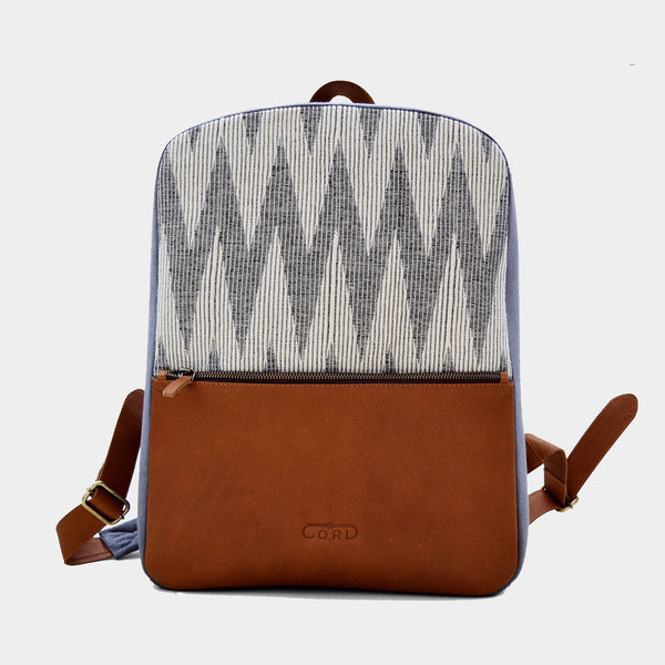 Grey & Beige Handcrafted Ikat & Leather Backpack by Cord