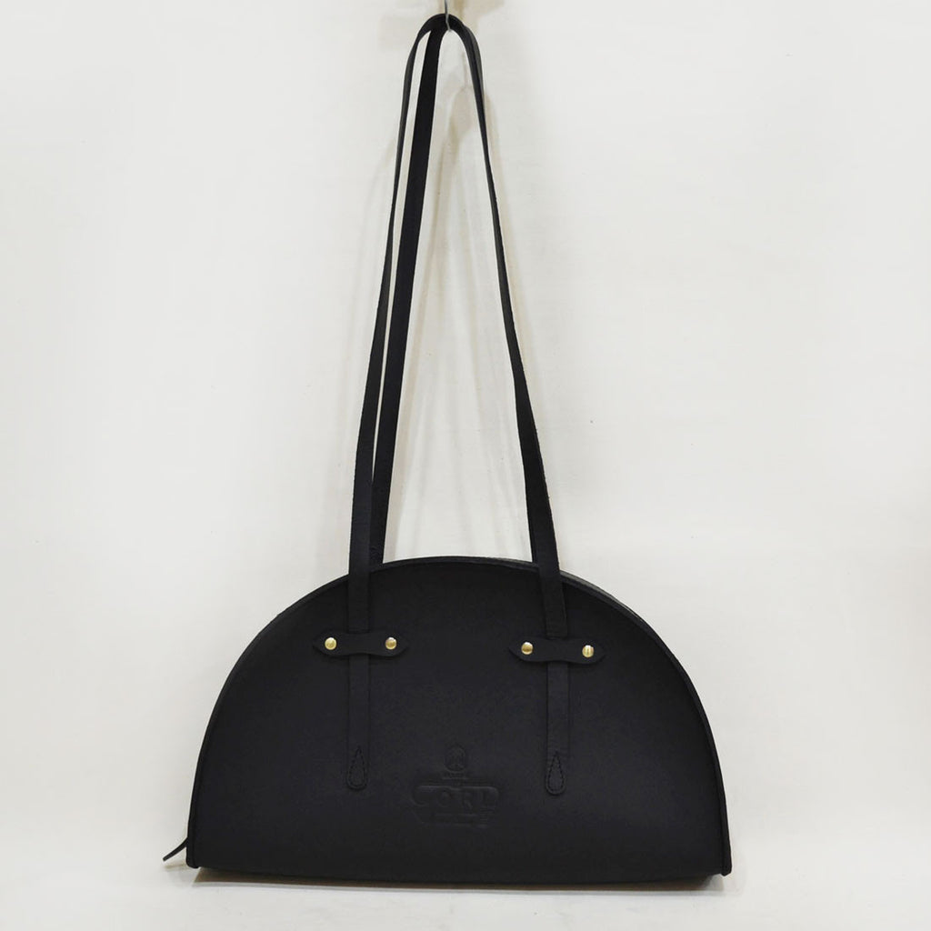 Black Hemicycle Saddle Leather Bag by Cord