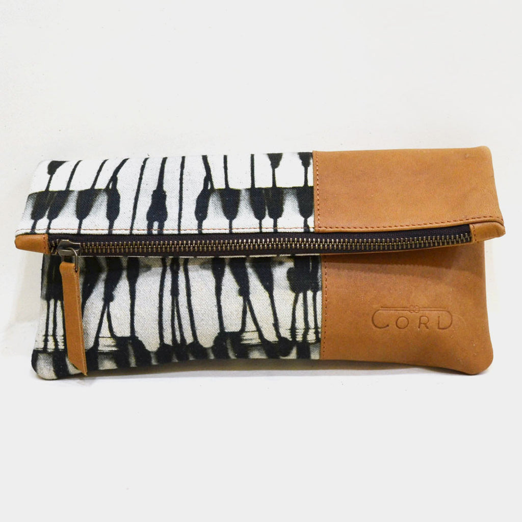 Black & White Abstract Limber Leather Clutch by Cord
