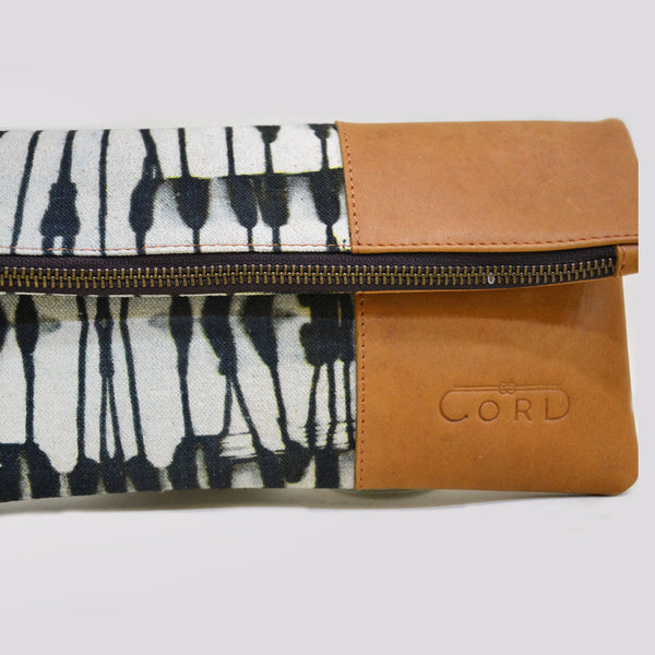 Black & White Abstract Limber Leather Clutch