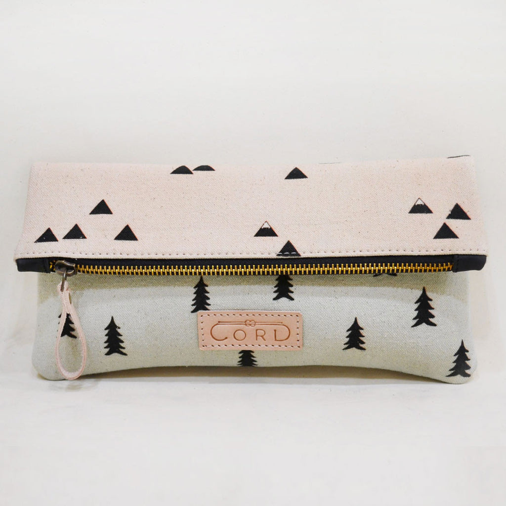 Pastel Pink & Blue Landscape Limber Leather Clutch by Cord