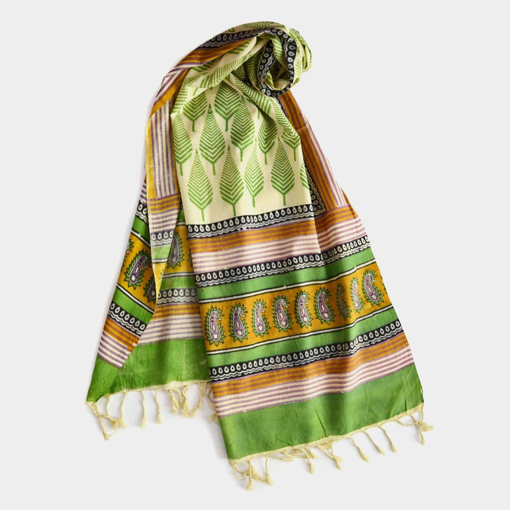 Green Leafy Printed Cotton Stole by Noorani Biswas