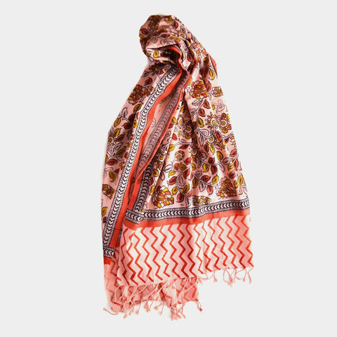 Brown Flowers And Leaves Printed Cotton Stole by Noorani Biswas