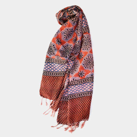 Blue And Orange Floral Printed Cotton Stole by Noorani Biswas