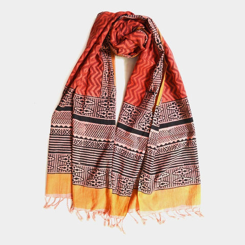 Orange Blockprint Cotton Stole by Noorani Biswas