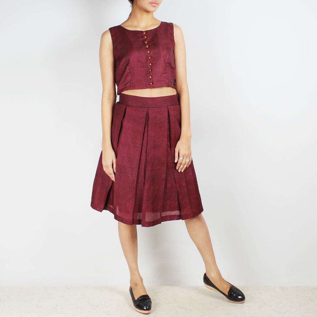 Pink Checkered Crop Top & Pleated Skirt Set by Dori
