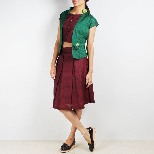 Short Green Vest With Checkered Top & Skirt Set by Dori