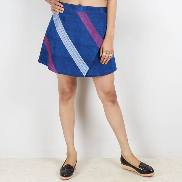 Royal Blue Flap Skirt & Pink Checkered Crop Top Set