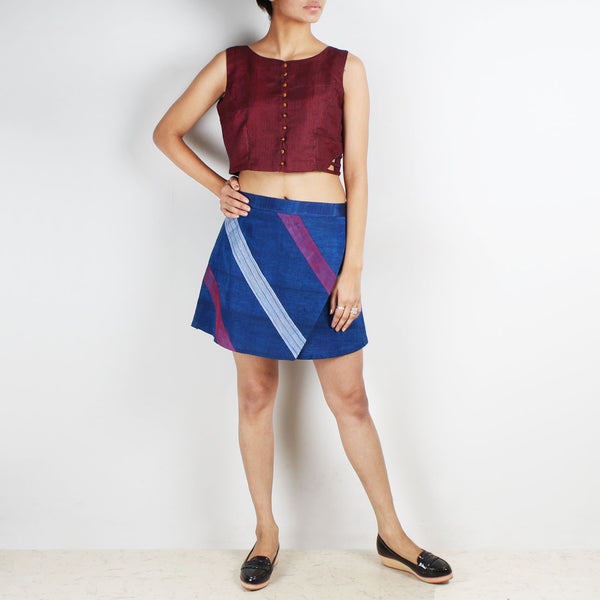 Royal Blue Flap Skirt & Pink Checkered Crop Top Set by Dori