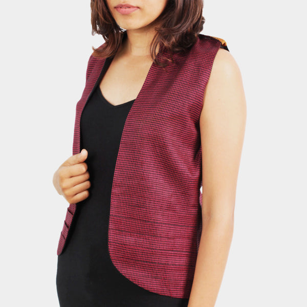 Ilkal Handwoven Cotton Pink Checkered Vest by Dori