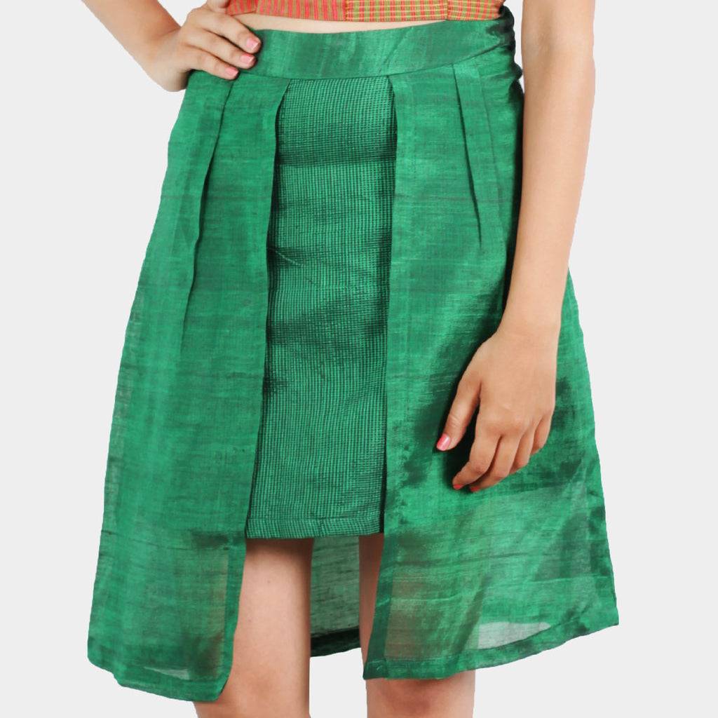 Ilkal Handwoven Cotton Green Layered Skirt by Dori