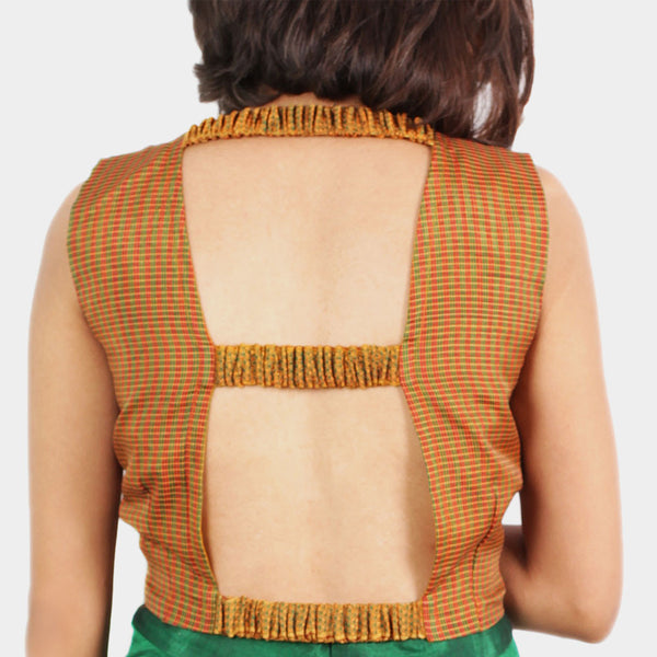 Ilkal Handwoven Cotton Orange Checkered Open Back Crop Top
