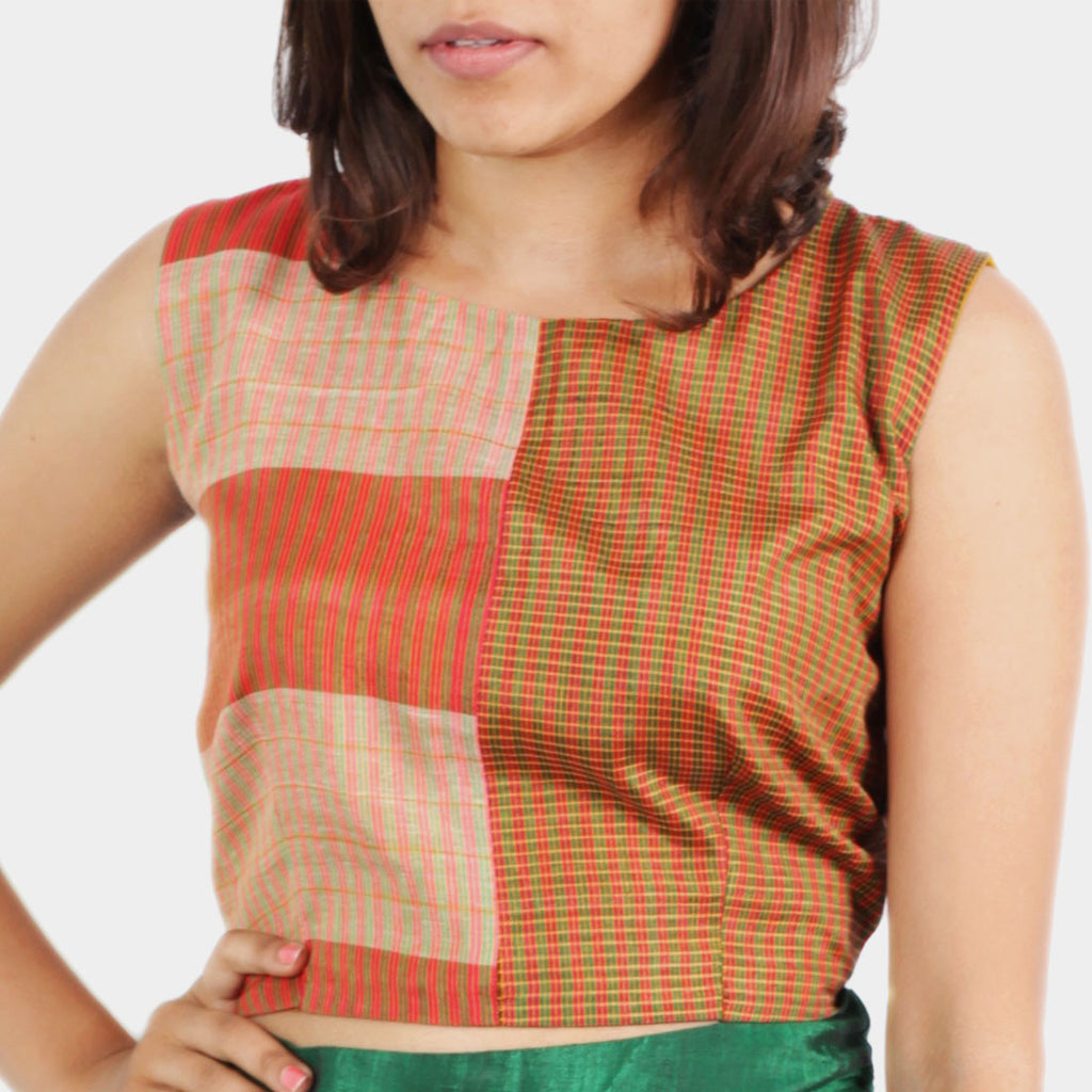 Ilkal Handwoven Cotton Orange Checkered Open Back Crop Top by Dori