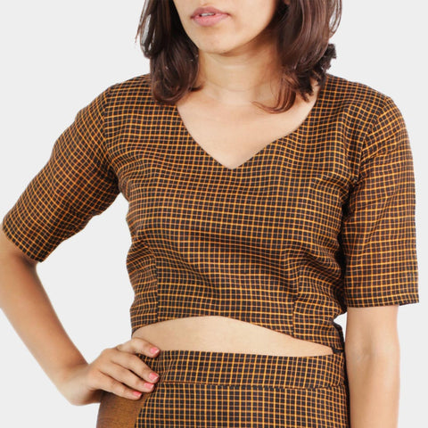 Ilkal Handwoven Cotton Black Checkered Asymmetric Crop Top by Dori