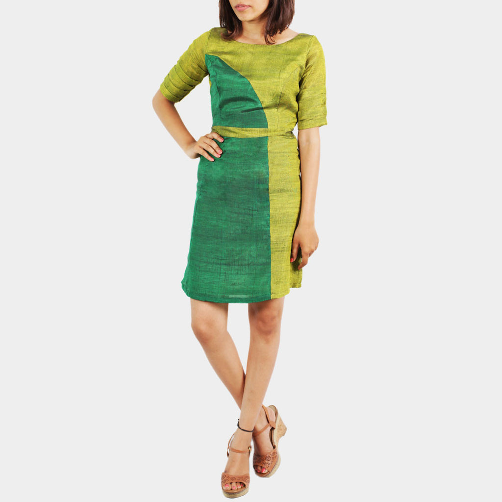 Ilkal Handwoven Cotton Green Asymmetric Panel Dress by Dori