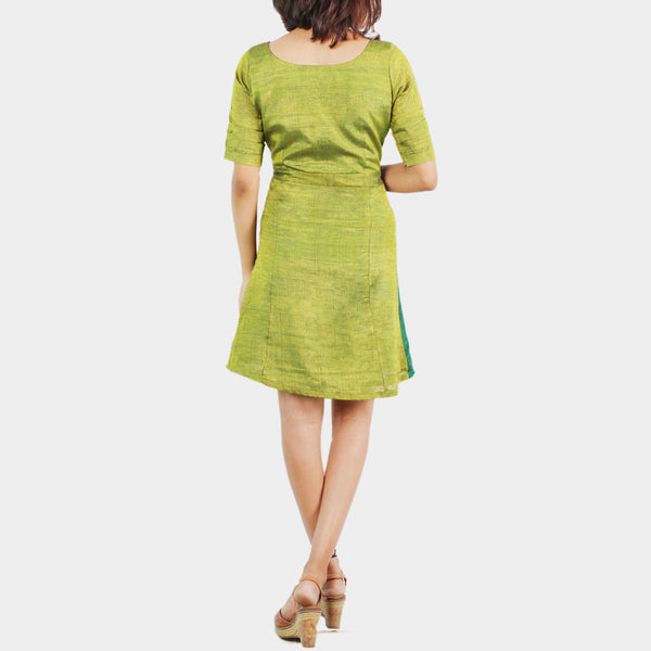 Ilkal Handwoven Cotton Green Asymmetric Panel Dress