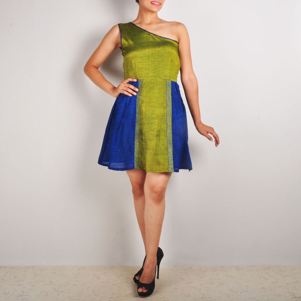 One Shoulder Dress With Side Panels by Dori