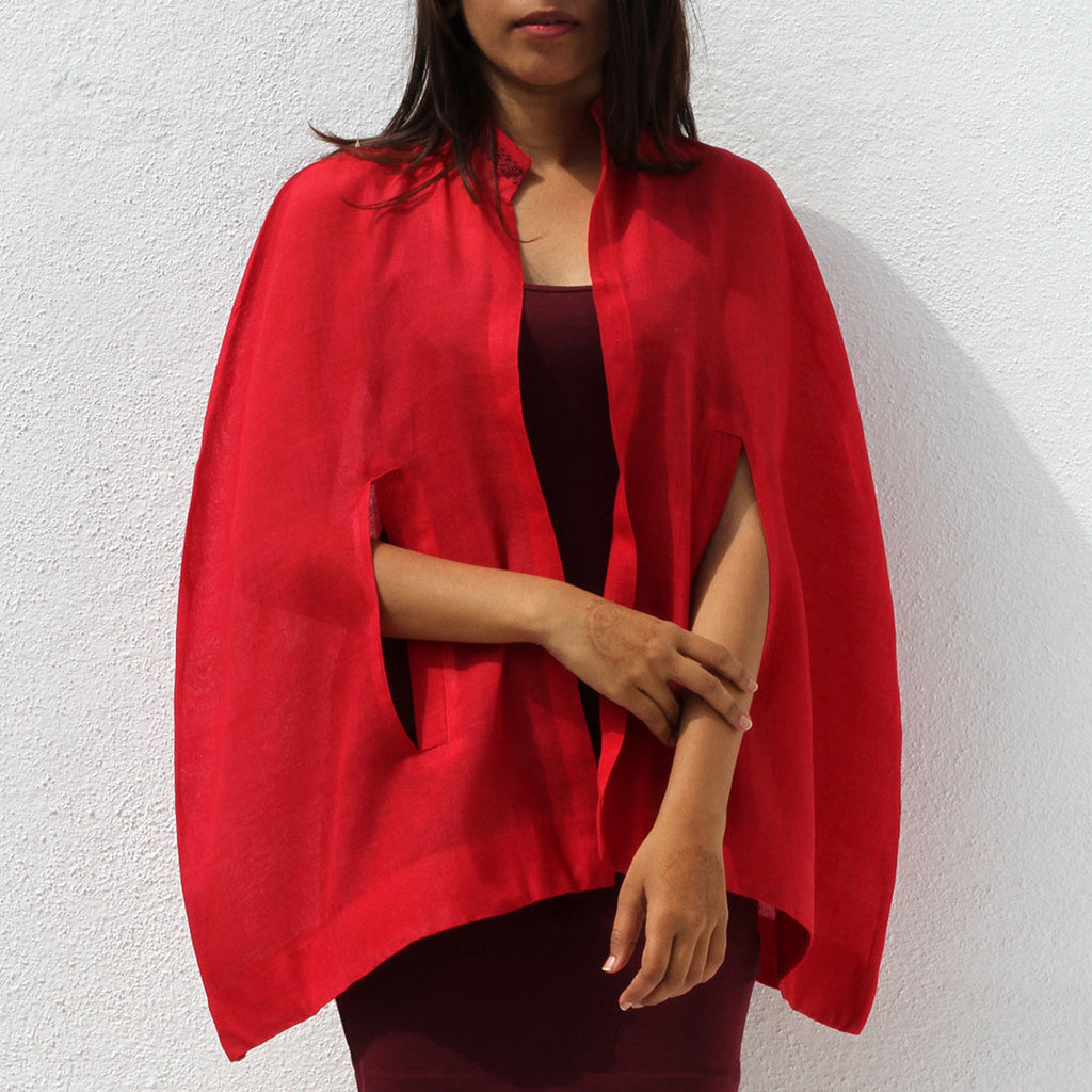 Handwoven Ilkal Cotton Red Cape With Arm Space by Dori