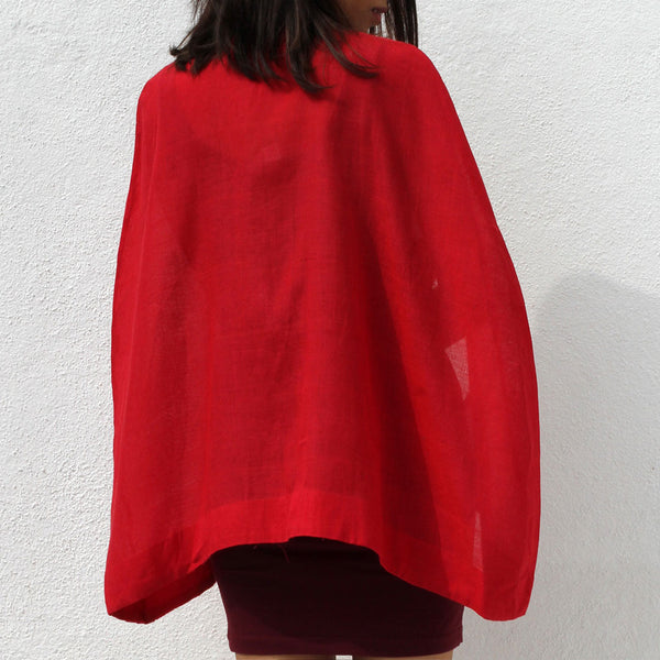 Handwoven Ilkal Cotton Red Cape With Arm Space