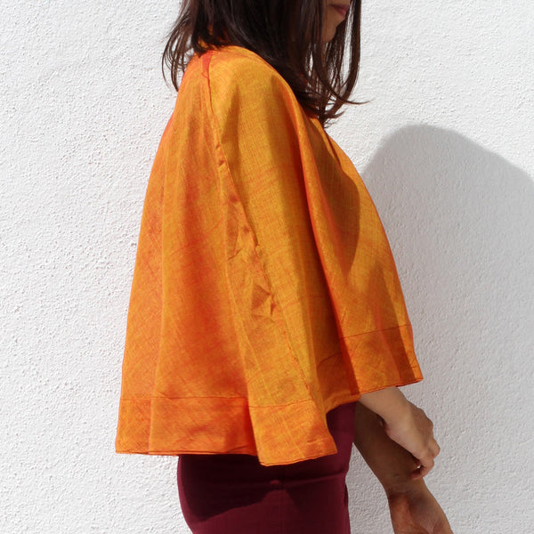 Handwoven Ilkal Cotton Yellow & Orange Flared Cape