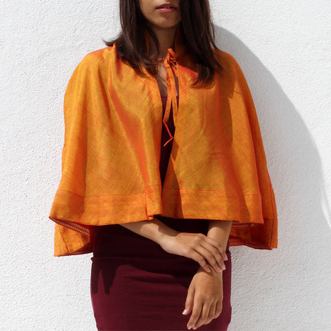 Handwoven Ilkal Cotton Yellow & Orange Flared Cape by Dori