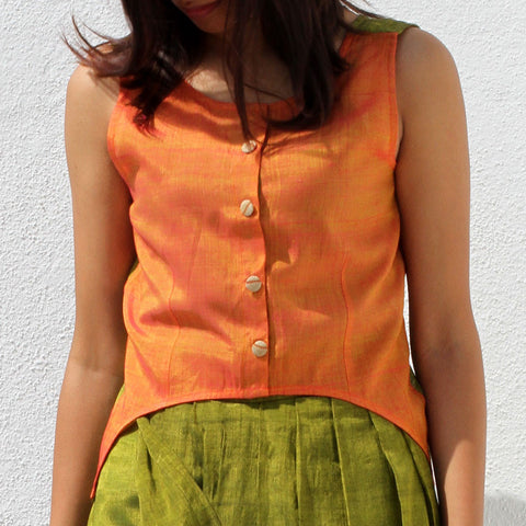 Handwoven Ilkal Cotton Yellow & Green Asymmetric Shirt Crop Top by Dori