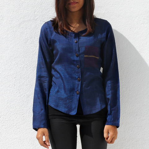 Handwoven Ilkal Cotton Royal Blue Shirt by Dori