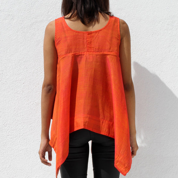 Handwoven Ilkal Cotton Orange Square Cut Top