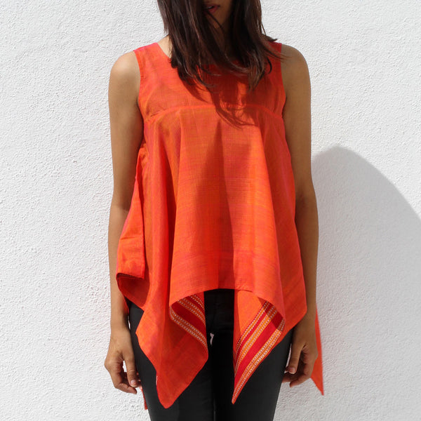 Handwoven Ilkal Cotton Orange Square Cut Top by Dori