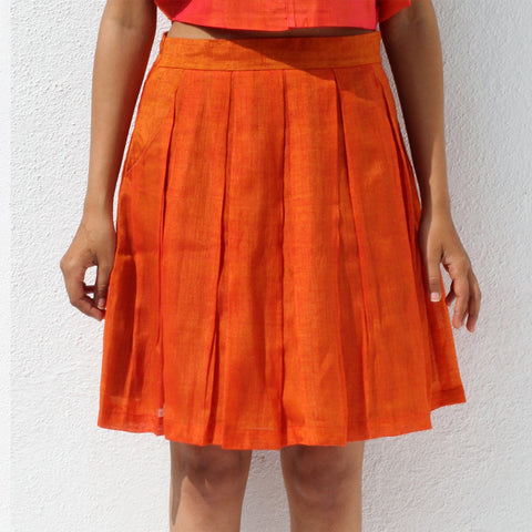 Handwoven Ilkal Cotton Orange Pleated Skirt by Dori