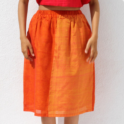 Handwoven Ilkal Cotton Orange Gathered Skirt by Dori
