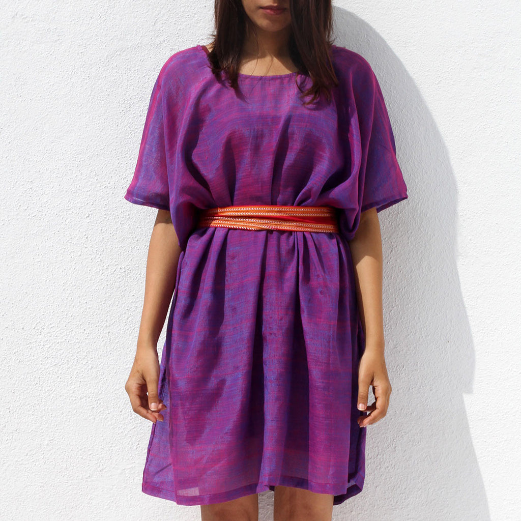 Handwoven Ilkal Cotton Purple Box Dress by Dori